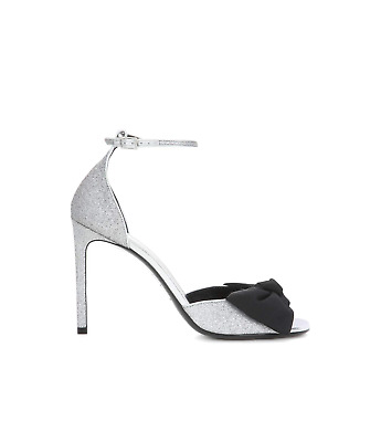 dbc94debd19 SAINT LAURENT JANE bow-embellished glittered satin sandals -  305.00 ...