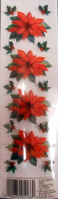Royal & Langnickel CHRISTMAS Glitter Rub-ons~RED POINSETTIA~ Scrapbooking/Cards