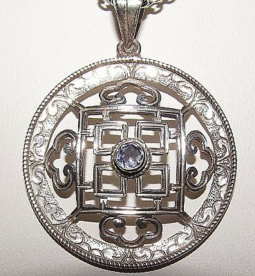 From Nepal Hand-Crafted Iolite & Sterling Silver Mandala Buddhist Pendant