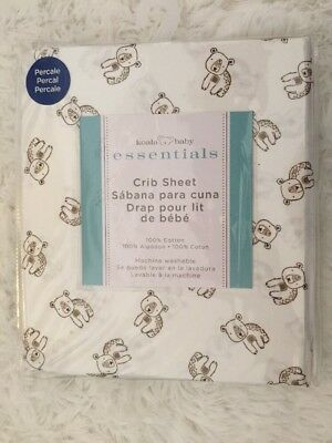 Koala Baby Essentials Fitted Cotton Crib Sheet White With Bears