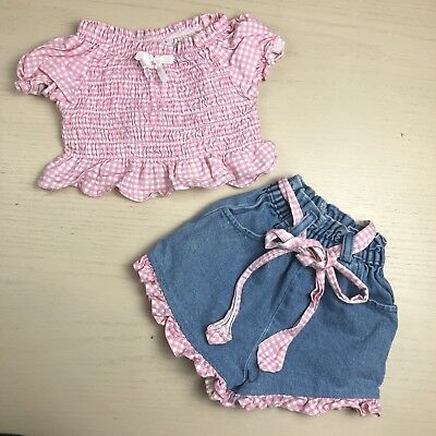 Vintage Crop Top And Shorts Girls 3T Pink Gingham Summer Rouched