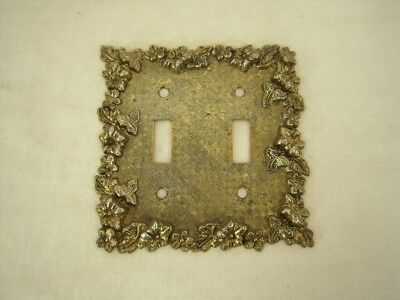 DECORATIVE 5 Inch Metal Double Switch Plate - flower vine design - 1968 - 75TT