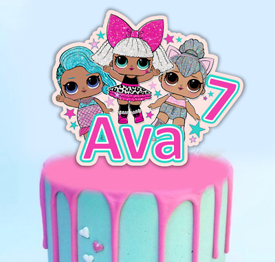 Large Glitter Lol Doll Stand up Cake Topper Decoration with Age and Name