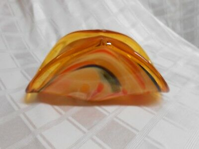 Authentic Murano Glass Bowl Hand Made in Italy Amber Folded w/ Orig. Sticker