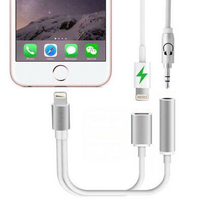 iPhone XS 8 Plus Dual 2in1 Lightning Headphone Audio & Charger Adapter Splitter
