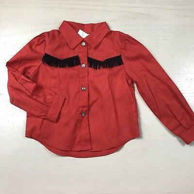 Vintage 1970s red western shirt 4T cow boy girl collared black tassels