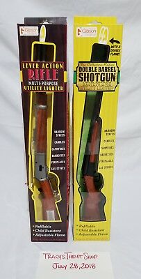 Lever Action Rifle Double Barrel Shotgun novelty lighters Lot of 2 NEW