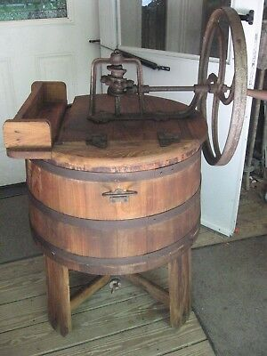 "ANTIQUE ""The Imperial"" BLACKSTONE Hand Crank Wooden WOOD WASHING MACHINE Nice !!"