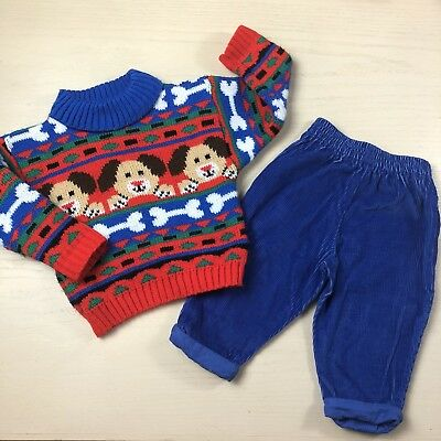 Vintage baby boy sweater pants outfit 12 months puppy dog knit blue cordoroy