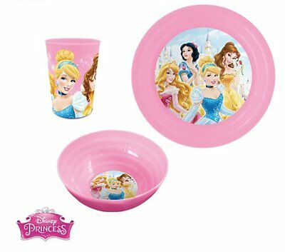 Kids Girls plastica cena set da colazione tazza e ciotola Disney Princess (S9K)