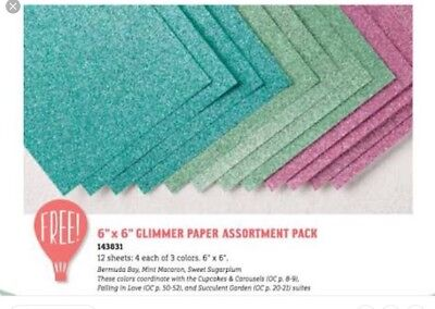 """Stampin Up DSP (designer series paper Stack) Glimmer Paper Assortment 6x6"""""""