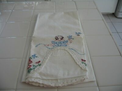 Beautiful Vintage Standard Pillowcase With Lady And Bluebirds Needs Embroidered