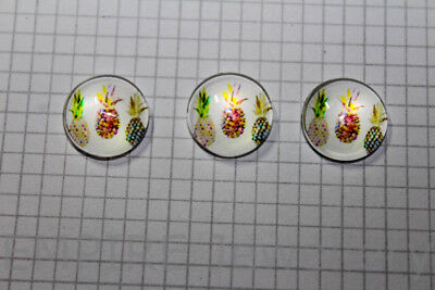 SALE!! 2 x Three Pineapples 12x12mm Glass Cabochons Cameo Retro Fruit Summer