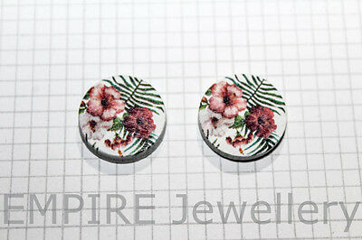 2 x Tropical Hibiscus & Leaves Wooden Laser Cut Flatback 15x15mm Cabochon Flower