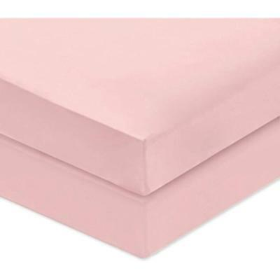 """PHF Crib Fitted Sheets 100% Cotton Deep Pocket 2 Pieces 52""""X28""""X8"""" Dark Pink"""