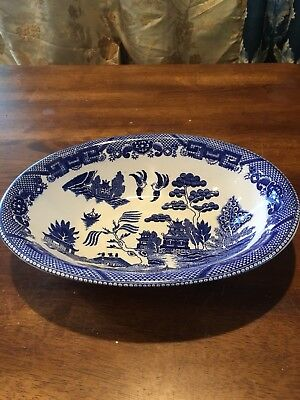 """Blue Willow Oval Vegetable Serving Bowl 10-1/2"""" X 7-3/4"""" - Japan Vgc"""