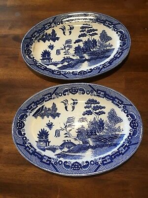 Set Of 2 Vintage Blue Willow Oval PLATTER Made in Japan 12.5x9 See Descrip