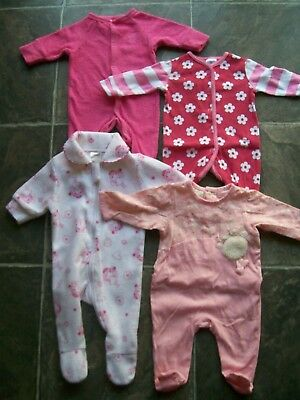 Baby Girl's Pink & White Coverall/Romper/Sleeper x 4 Size 0000 VGUC