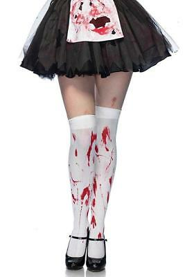White Thigh High Stockings with Blood Stains Halloween Zombie Hosiery