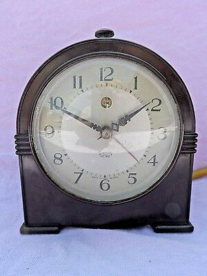 Vintage Art Deco Smiths Bakelite Electric Alarm Clock Perfect Condition Gwo