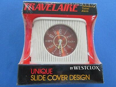 Vintage Westclock Travel Clock Cream  With Sliding Cover In ORIGINAL BOX