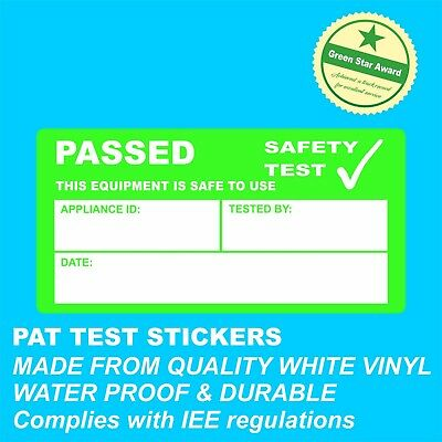 1000 PAT TEST PASSED STICKERS waterproof & durable Complies with IEE regulations