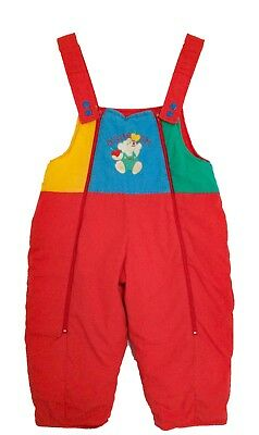 VTG Kids Osh Kosh 90s Elephant Cute Primary Colours Padded Unisex Dungarees 2Y