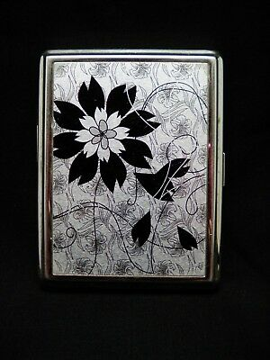 Cigarette Case Box Hinged Metal Vintage Deco Style Flowers Silver Tone w Black
