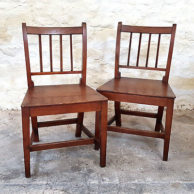 Georgian Sheraton Style Pair of Elm Hall Chairs C1800 (George III Antique)