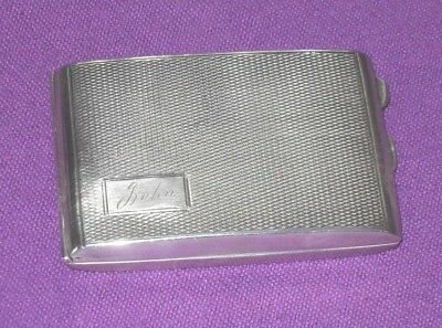 Art Deco 1929 Solid Sterling Silver Engine Turned Match Book Card Case Antique