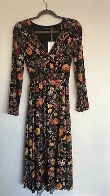 Zara Long Floral Ladies Dress Bloggers Favourite Sold Out Everywhere - XS