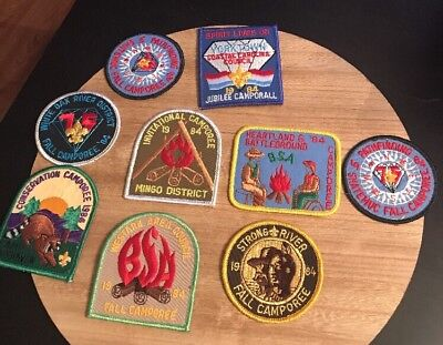 Lot Of 9 Vtg Boy Scouts Camporee Patches 80s Different Councils