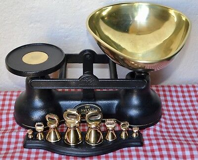 Vintage English Kitchen Scales Salter Black Cast Iron 8 Metric Weights & Tray