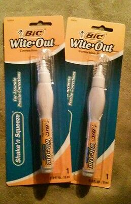 BIC WITE-OUT Shake'n Squeeze Correction Pen LOT OF 2