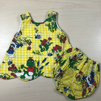 Vintage frog top bloomer set baby girl 12 18 months yellow gingham bees flowers