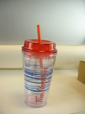 Tim Hortons clear plastic with blue/white strips cool drink traveller with straw