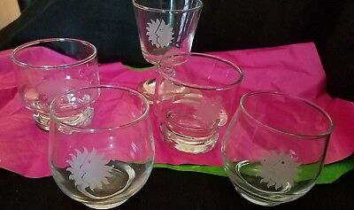 Vintage Set Of (5) NATIONAL AIRLINES First Class Sun King Logo Cocktail Glasses