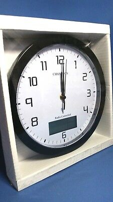 CHAMPION 25cm MSF RADIO CONTROLLED  WALL CLOCK WITH INSET LCD DISPLAY