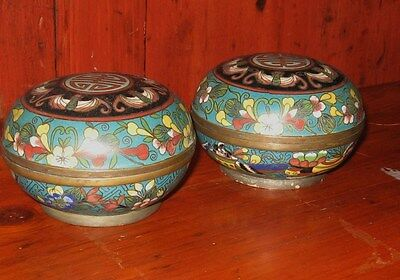 Pair Antique Chinese Cloisonne Boxes