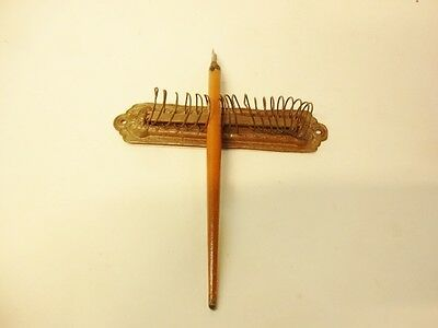 Antique Stamped Brass & Wire Dip Pen Rack/Letter Holder