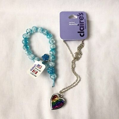 Claires Rainbow Heart Locket And Bracelet NWT, Girls Jewelry, Kids Accessories
