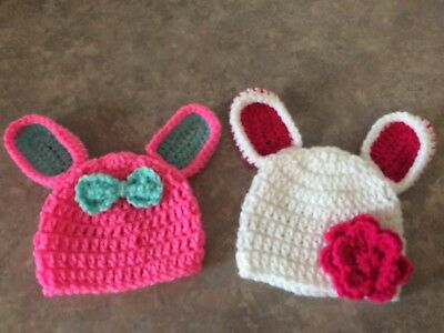 Crochet newborn - 3 month Baby Girl Bunny Rabbit hat photo prop Shower Gift Ears