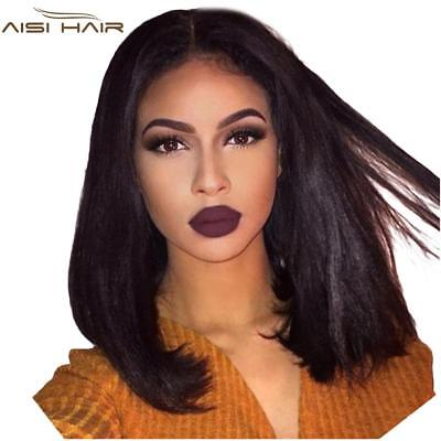 I's a wig Short Straight BOb Wigs 14 inch Black Synthetic Front Lace Wig for Afr