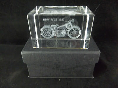 1923 BMW R32 Motorcycle Laser Etched Crystal Glass Paperweight With Box