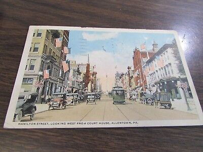 Vintage - Hamilton Street From Courthouse - Allentown  Pa -  Post Card
