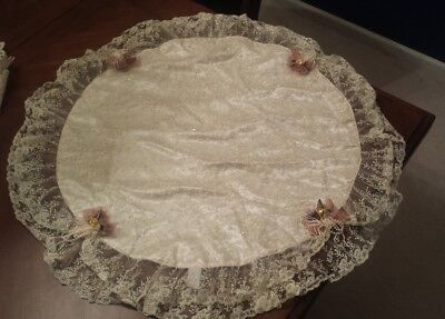 "Victorian inspired 34"" round ivory lace and satin doily with rose ribbon accents"