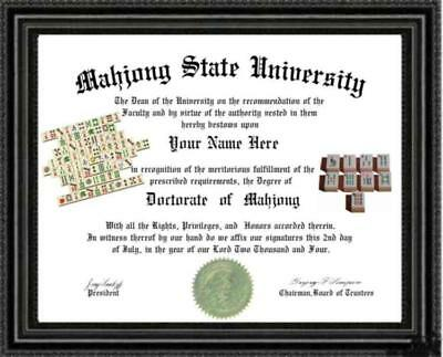 Mahjong Lover's  Doctorate Diploma / Degree Custom made & Designed for you