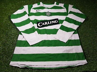 celtic scotland football large mans rare player issue 2005 l/s nike home jersey