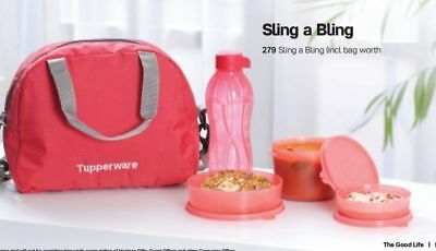 Tupperware Sling a Bling Lunch Set With Bottle - Set of 4 + Free Insulated Bag