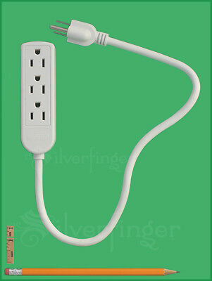 POWER STRIP Grounded 3 Outlet Indoor Wall Plug AC1625W Electric Cord Mini Travel